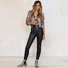 HDY Haoduoyi Belt Women Spring jacket Punk Style Short Faux Leather Coat Faux Leather Suede Jacket Women Pu Leather Coat Female