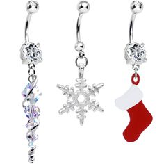 Handcrafted Clear CZ Winter Wonders Christmas Dangle Belly Ring 3 Pack