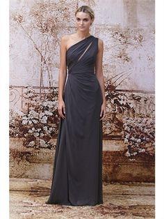 2014 Column Floor-Length One Shoulder Pleats Chiffon Bridesmaid Dresses ABM12025