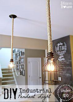 DIY Rustic Industrial Pendant Light for Under $10 - Bless'er House