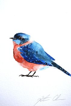 Watercolor Painting Original Painting Bluebird 6x9 by WoodPigeon, $25.00