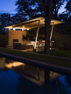 bridlepath cabana - modern - pool - austin - by Hugh Jefferson Randolph Architects Outdoor Rooms, Outdoor Dining, Outdoor Seating, Modern Patio Design, Modern Gazebo, Modern Backyard, Moderne Pools, Outdoor Pavilion, Pool Cabana