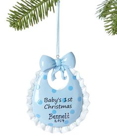 Look at this #zulilyfind! Blue Bib 'Baby's 1st Christmas' Personalized Ornament #zulilyfinds
