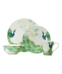 @Joyce Lauffer this is right up your peacock alley!  Love this Lakshmi 16-Piece Dinnerware Set on #zulily! #zulilyfinds
