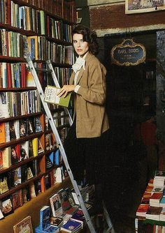 """ French actress Fanny Ardant reading in bookshop. Photographed for French Vogue in Ardant was raised in Monte Carlo where she was educated at a convent school. A voracious reader,. Ali Macgraw, Lauren Hutton, Katharine Hepburn, Jackie Kennedy, Claude Lelouch, Marla Singer, Librarian Chic, Deneuve, Book Writer"