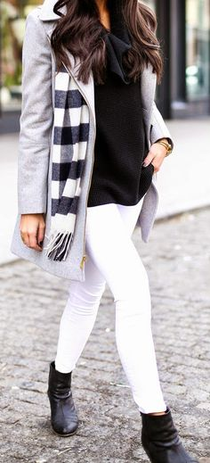 Grey Coat with White Skinny Jeans and Black Sweater, Plaid Scarf and Leather Booties.
