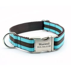 Preppy Layered Stripe Dog Collar with Personalized Buckle - Turquoise/Brown