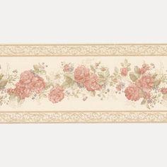 Vintage Rose englische Landhaus Satin Bordüren Blumen Art.-Nr.: B07566