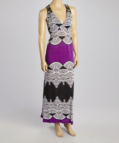 Another great find on #zulily! Magic Purple & Black Fan Maxi Dress - Plus by Magic #zulilyfinds