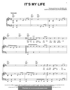 It's My Life (Bon Jovi): For voice and piano (or guitar) by Jon Bon Jovi, Max Martin, Richie Sambora Saxophone Sheet Music, Guitar Sheet, Piano Music, Violin, Piano Lessons, Music Lessons, Guitar Lessons, Guitar Tips, Bon Jovi Now