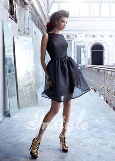 black organza boat neckline short bridesmaid dress uk with pencil skirt instyle.co.uk