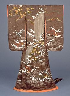 Omeshi Kimono with Falling Waterfalls in Embroidery on Brown Figured-Satin Ground. 18th century, Japan.  Kyoto National Museum