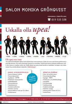 Freelancer-projekti: Salon Monika Grönqvist. Lehti-ilmoitus, 1/1-sivu. © Natasha Design Tmi, 2010. – http://www.salonmg.fi/