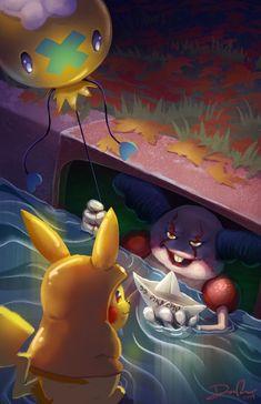 Mime the Evil Clown Art Print - Pokemon Scary Pokemon, Pokemon Halloween, Mega Pokemon, Pokemon Eeveelutions, Pokemon Memes, Pokemon Funny, Pokemon Fan Art, Pokemon Cards, Eevee Cute
