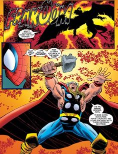 Thor and Spider-Man in Peter Parker: Spider-Man (vol. Asgard Marvel, Marvel Heroes, John Romita Jr, The Mighty Thor, Spiderman Art, Comic Page, Marvel Movies, Comics, Thunder