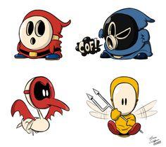 Masked enemies by art-ikaro on DeviantArt Super Smash Bros, Super Mario Bros, Shy Guy, Art Inspo, Cool Art, Video Games, Nintendo, Disney Characters, Fictional Characters