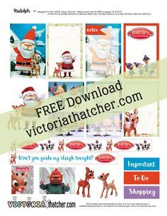 Free Printable Rudolph The Red-nosed Reindeer Planner Stickers from Victoria Thatcher
