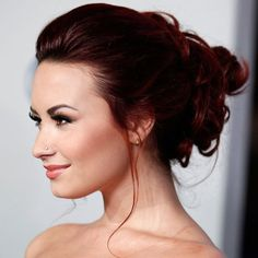 Up Do. Her hair looks Beautiful like this.