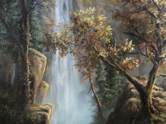 """""""Autumn Waterfall"""" Oil Painting by Kevin Hill Watch short oil painting lessons on YouTube: KevinOilPainting Visit my website: www.paintwithkevin.com Find me on Facebook: Kevin Hill Follow me on Twitter: @Kevin Hill"""
