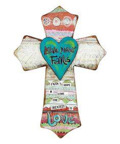 This 'Love Never Fails' Slot Hanger Wall Cross is perfect! #zulilyfinds