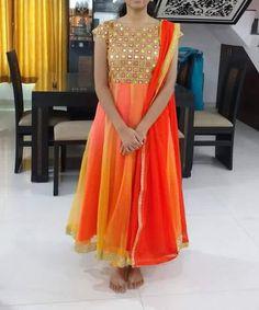 To order, pls WhatsApp on 94929 91857 Saree Blouse Neck Designs, Dress Neck Designs, Blouse Designs, Long Frocks For Girls, Long Gown Dress, Frock Dress, Anarkali Dress, Punjabi Dress, Ikkat Dresses