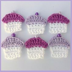 Cupcakes crochet appliques