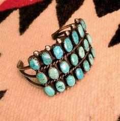 Vintage FRED HARVEY ERA Turquoise Bracelet Cuff Native American Pawn 1930-40's