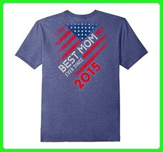 Mens Best Mom Ever Since 2015 American Flag T Shirt Small Heather Blue - Relatives and family shirts (*Amazon Partner-Link)