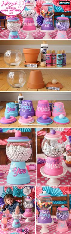 Diy Kids Party Decorations Birthday Baby Shower New Ideas Craft Projects, Crafts For Kids, Craft Ideas, Diy Ideas, Creative Ideas, Activity Ideas, Jojo Siwa Birthday, Clay Pot Crafts, Candy Containers