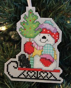 Handmade Cross Stitch Christmas Ornament by IttyBrittyNeedle