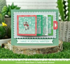 """With this set of dies, create an awesome flip-book style interactive card! Pull the tab to """"flip"""" through four panels… it is also sized perfectly to fit a gift card! This set coordinates with the optional Flippin' Awesome Add-On. Tiny Gifts, Cute Gifts, Holiday Hats, Holiday Fun, Lawn Fawn Blog, Cute Polar Bear, Woodland Critters, Interactive Cards, Winter Theme"""