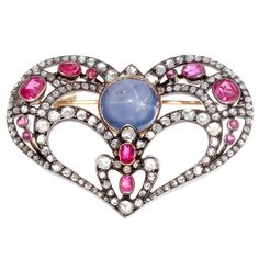 Antique Sapphire Diamond Spinel Silver Gold Heart Brooch | From a unique collection of vintage brooches at https://www.1stdibs.com/jewelry/brooches/brooches/
