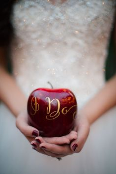 Snow white themed wedding with lots of apples.