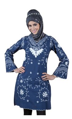 A Truly amazing creation from East Essence, this is one of its latest offerings in kurtis. Featured here is a modest navy blue kurti crafted out of 100% cotton poplin fabric.