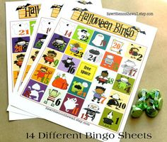 14 different sheets of Halloween Bingo plus number calling card and bingo markers!  Perfect for home or school Halloween parties....the kids love it!