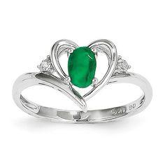 14k White Gold Genuine Emerald Diamond Heart Ring – Sparkle & Jade