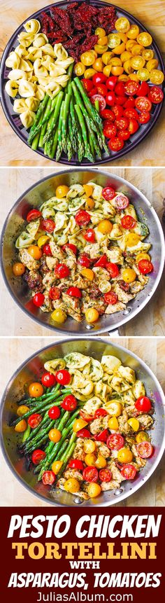 One-Pan Pesto Chicken, Tortellini, and Veggies, Asparagus, Tomatoes – healthy, refreshing, Mediterranean-style dinner. Spring and Summer Dinner Recip