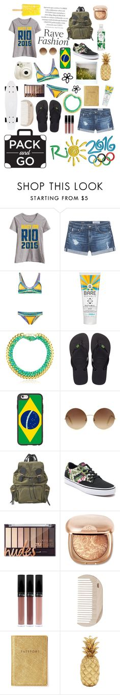 """""""Go to Río!!"""" by citlalisanchezd ❤ liked on Polyvore featuring Festuvius, AG Adriano Goldschmied, kiini, Aurélie Bidermann, Havaianas, Casetify, Victoria Beckham, Burberry, Vans and Fujifilm"""