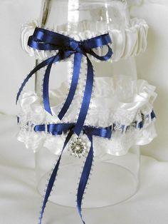 Antique Ivory Satin-Lace Overlay Garter Set-Blue Ribbons