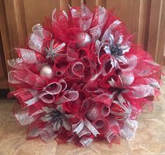 Silver and red Christmas decomesh Wreath