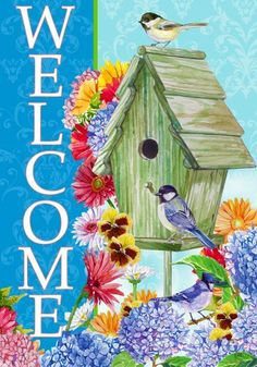 Spring Garden Flag Welcome Birdhouse Custom Decor Welcome Flowers, Spring Coloring Pages, Flag Store, Flags For Sale, Birdhouse Designs, Garden Decor Items, Collage, House Flags, Flag Decor