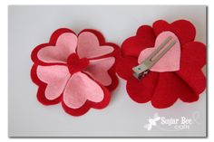 Heart Felt Flower Hairclip - Sugar Bee Crafts