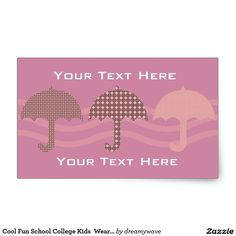 Cool Fun School College Kids  Wear Pink Umbrella Rectangular Sticker