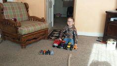 He loves his monster trucks