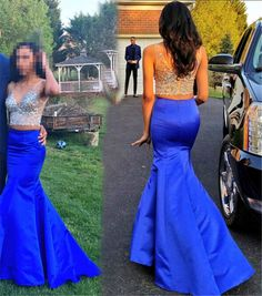 Sexy Two Piece Evening Dresses Long Mermaid V-Neck Royal Blue Satin Prom Dress