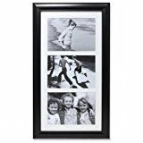 Lawrence Frames Three Opening Collage Frame, 5 by 7-Inch, Black   Matted gallery frame Black velvet backing Vertical or horizontal wall hanging only, comes with installed hangers Wipe clean with dry cloth, glass included Holds three 5 inch by 7 inch photos  High quality three opening collage...