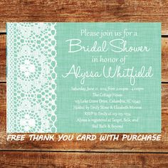 Mint Green Bridal Shower Invitation  Printable Lace by JoyfulINK, $12.00