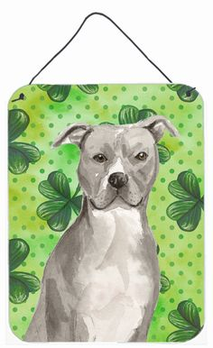 Staffordshire Bull Terrier St. Patrick's Wall or Door Hanging Prints BB9535DS1216
