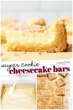 Sugar Cookie Cheesecake Bars are creamy cheesecake on top of a sugar cookie crust, topped off with buttery toffee bits! I even used a short-cut to make these extra easy! Sugar Cookie Cheesecake, Frozen Cheesecake, Sugar Cookie Dough, Cheesecake Desserts, Cookie Crust, Cheesecake Strawberries, Cheesecake Crust, Easy No Bake Desserts, Delicious Desserts