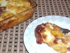 Side dish for our Spanish Christmas dinner. Plantain with cheese and guava.